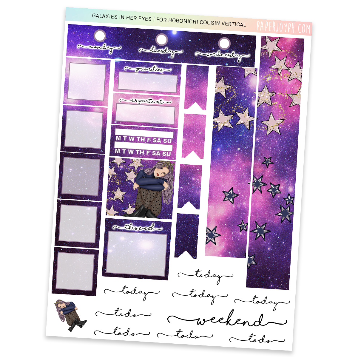 HOBONICHI COUSIN | VERTICAL STICKER KIT | GALAXIES IN HER EYES