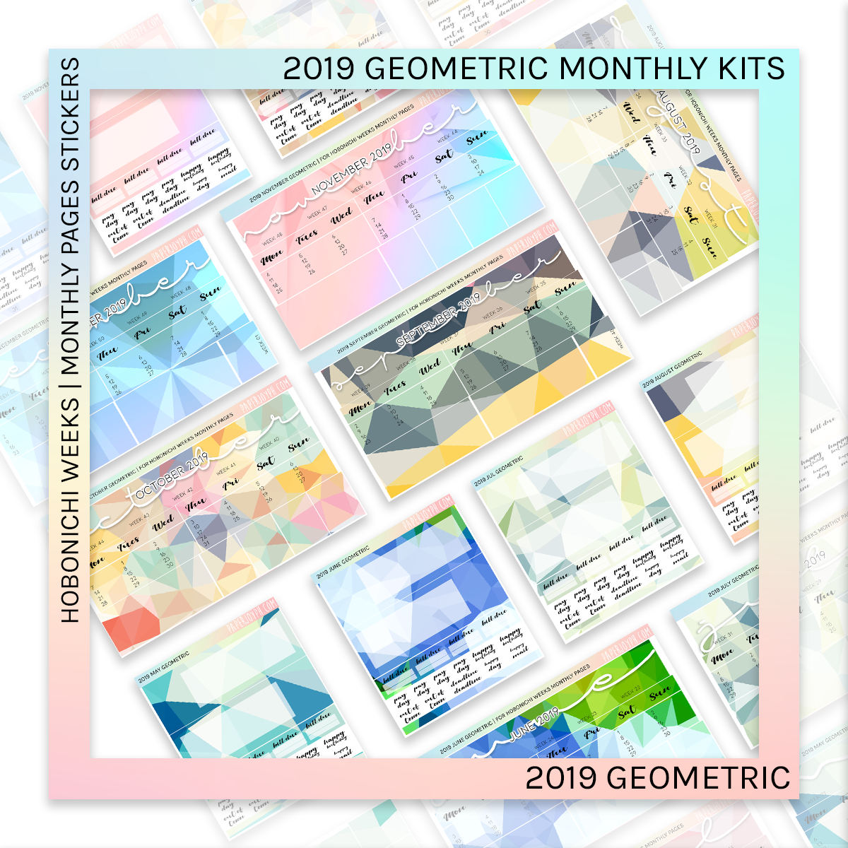 HOBONICHI WEEKS | 2019 MONTHLY PAGES | September Geometric 2019