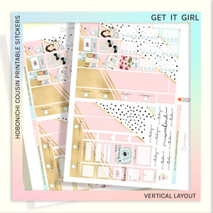 HOBONICHI COUSIN PRINTABLES | VERTICAL STICKER KIT | GET IT GIRL