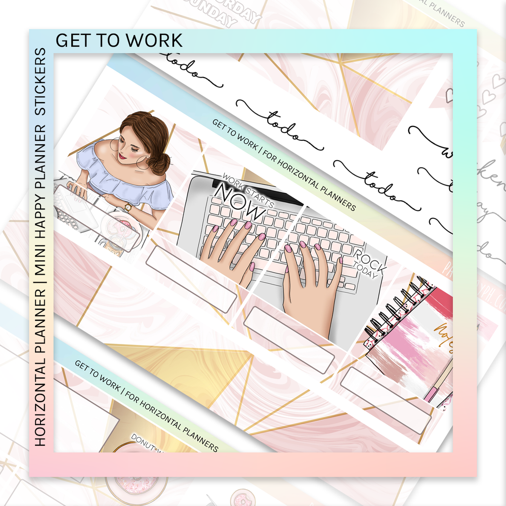 HORIZONTAL PLANNER STICKER KIT | Get to Work