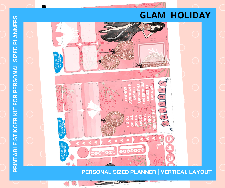 Printables for Personal Planner | Vertical Sticker Kit | GLAM HOLIDAY
