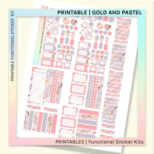 PRINTABLE | FUNCTIONAL STICKER KITS | Gold and Pastel