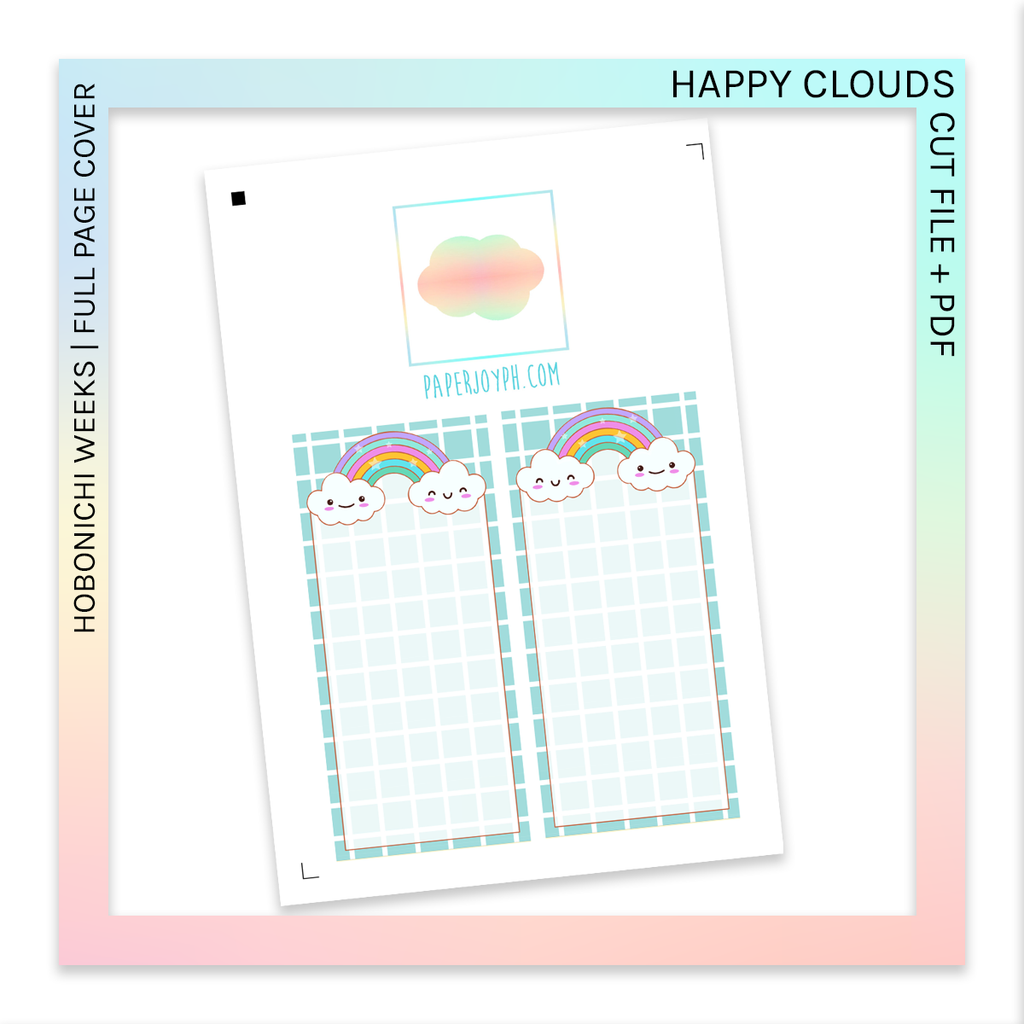 PRINTABLE | HOBONICHI WEEKS FULL PAGE STICKERS | Happy Clouds