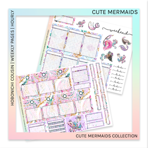 HOBONICHI COUSIN | HOURLY STICKER KIT | Cute Mermaids