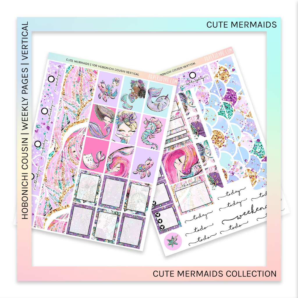 HOBONICHI COUSIN | VERTICAL STICKER KIT | Cute Mermaids