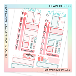 PRINTABLE | HOBONICHI WEEKS | Heart Clouds A4 size paper