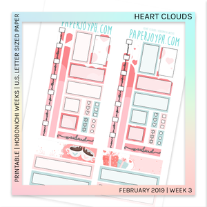PRINTABLE | HOBONICHI WEEKS | Heart Clouds U.S. LETTER size paper