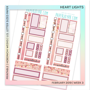 PRINTABLE | HOBONICHI WEEKS | Heart Lights U.S. LETTER size paper