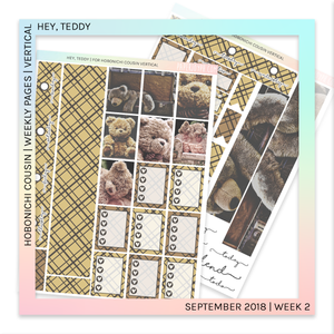 HOBONICHI COUSIN | VERTICAL STICKER KIT | Hey, Teddy