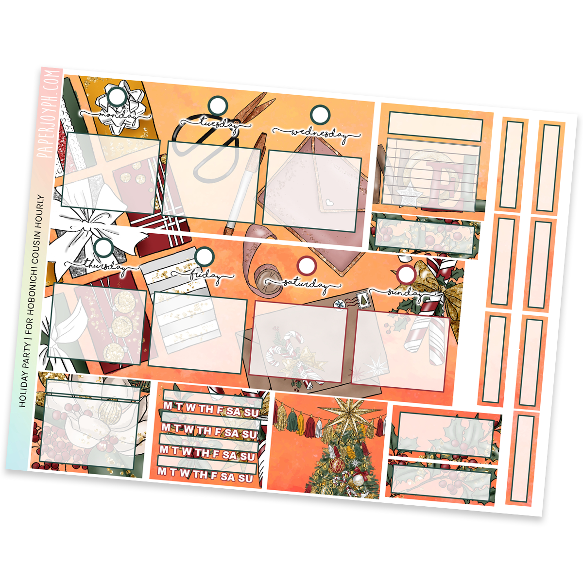 HOBONICHI COUSIN | HOURLY STICKER KIT | Holiday Party