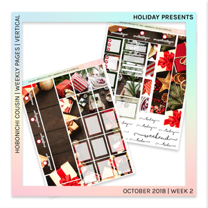 HOBONICHI COUSIN | VERTICAL STICKER KIT | Holiday Presents