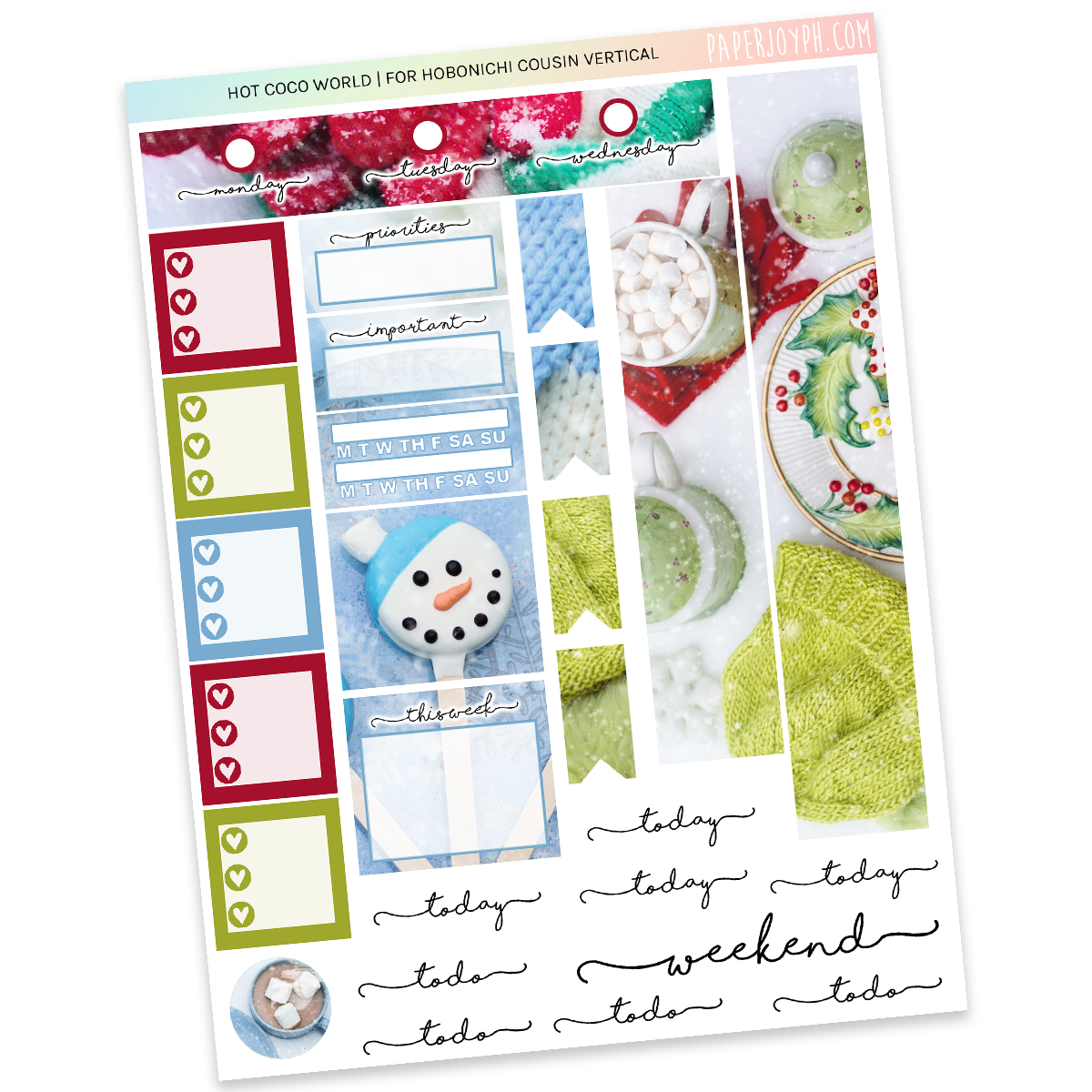 HOBONICHI COUSIN | VERTICAL STICKER KIT | Hot Coco World