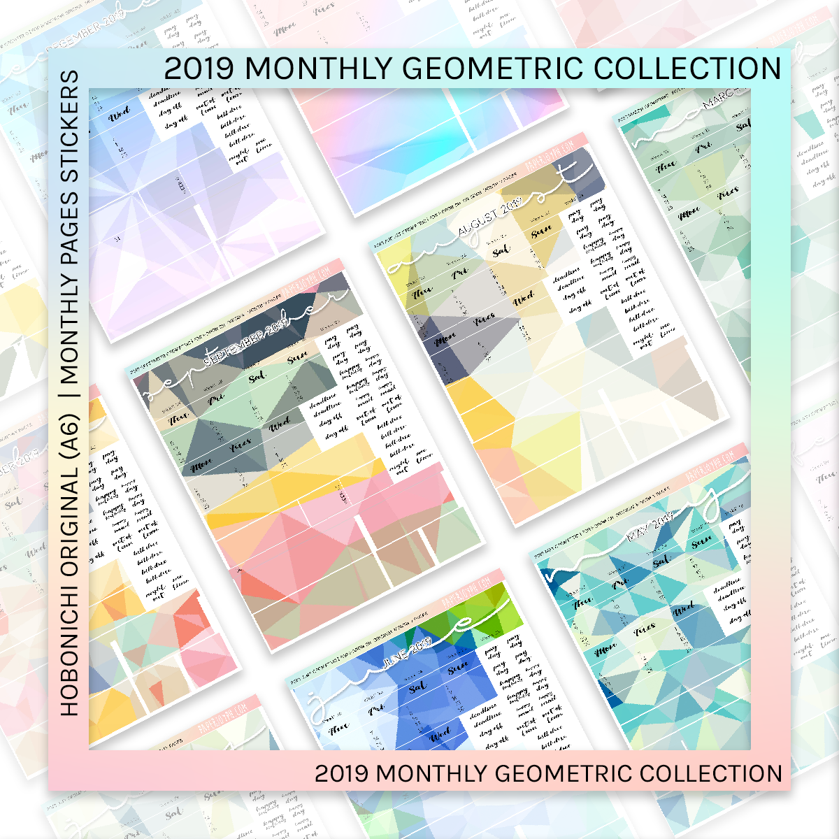 HOBONICHI ORIGINAL (A6) | MONTHLY PAGES | December Geometric 2019