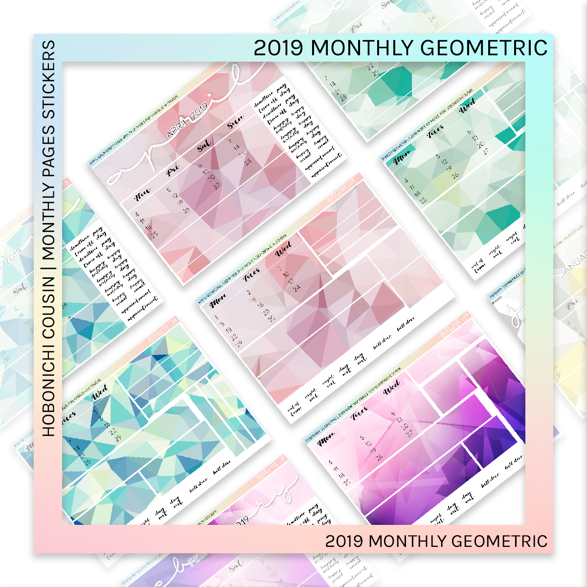 HOBONICHI COUSIN | MONTHLY PAGES | April Geometric 2019