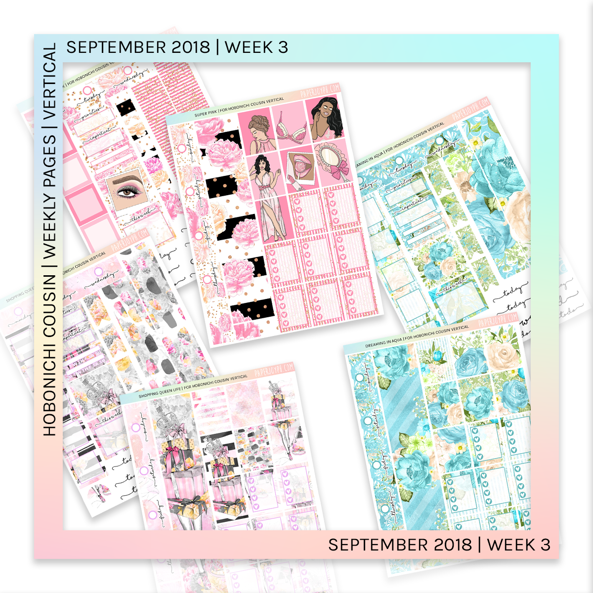 HOBONICHI COUSIN | VERTICAL STICKER KIT | Super Pink