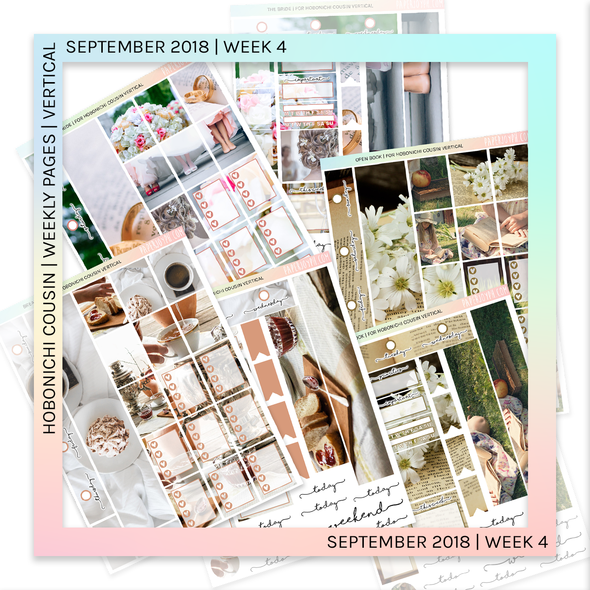 HOBONICHI COUSIN | VERTICAL STICKER KIT | Open Book
