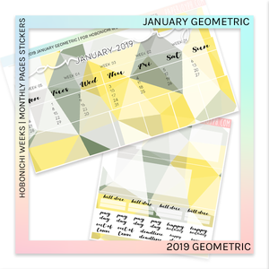 HOBONICHI WEEKS | 2019 MONTHLY PAGES | January Geometric 2019