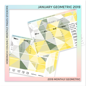 HOBONICHI COUSIN | MONTHLY PAGES | January Geometric 2019
