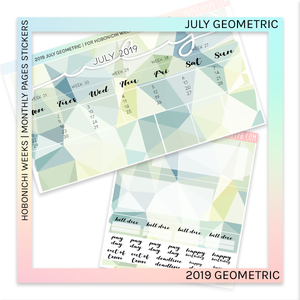 HOBONICHI WEEKS | 2019 MONTHLY PAGES | July Geometric 2019