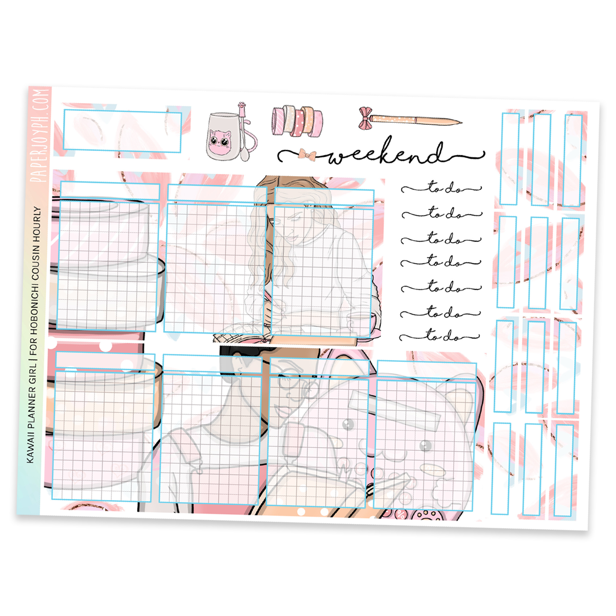 HOBONICHI COUSIN | HOURLY STICKER KIT | Kawaii Planner Girl