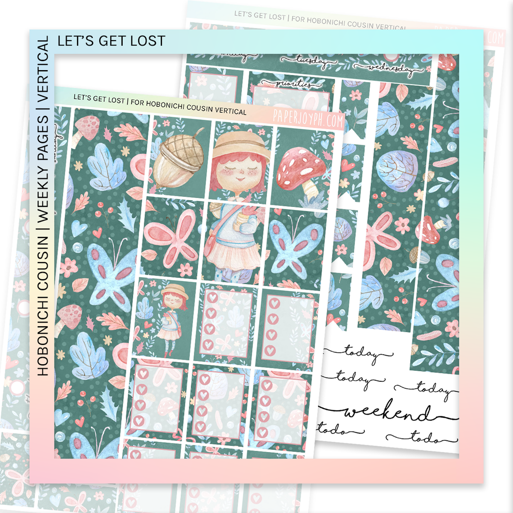 HOBONICHI COUSIN | VERTICAL STICKER KIT | Let's Get Lost