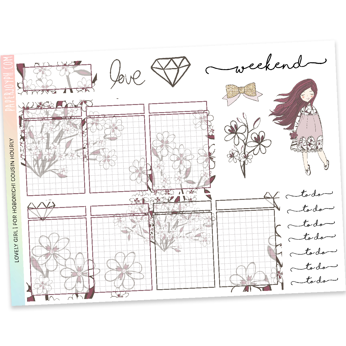 HOBONICHI COUSIN | HOURLY STICKER KIT | Lovely Girl