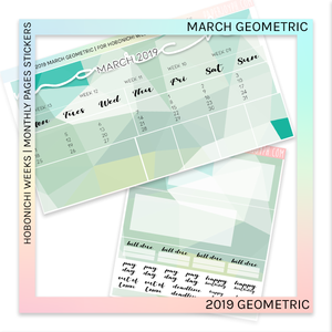 HOBONICHI WEEKS | 2019 MONTHLY PAGES | March Geometric 2019