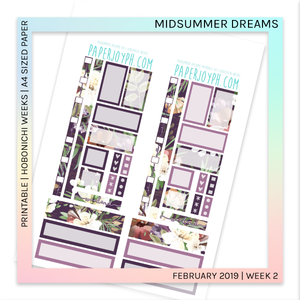 PRINTABLE | HOBONICHI WEEKS | Midsummer Dreams A4 size paper