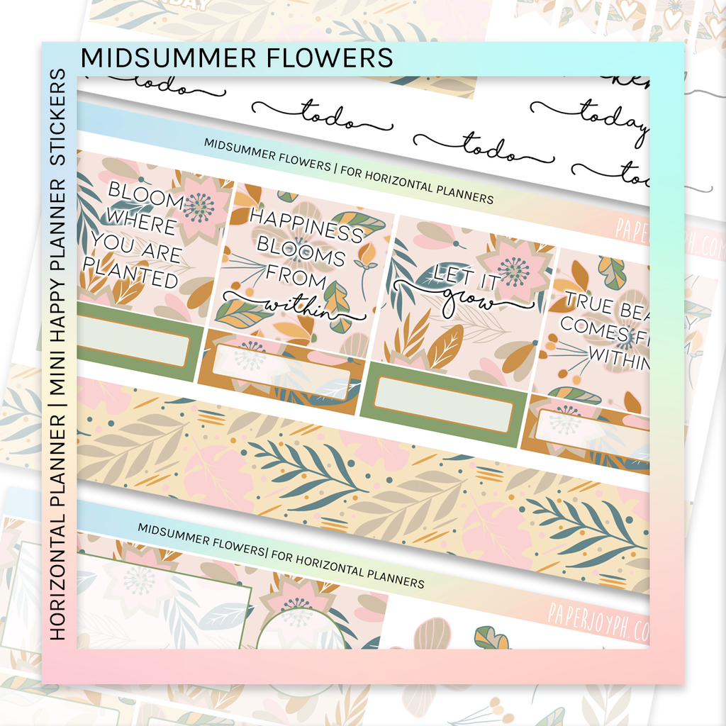 HORIZONTAL PLANNER STICKER KIT | Midsummer Flowers