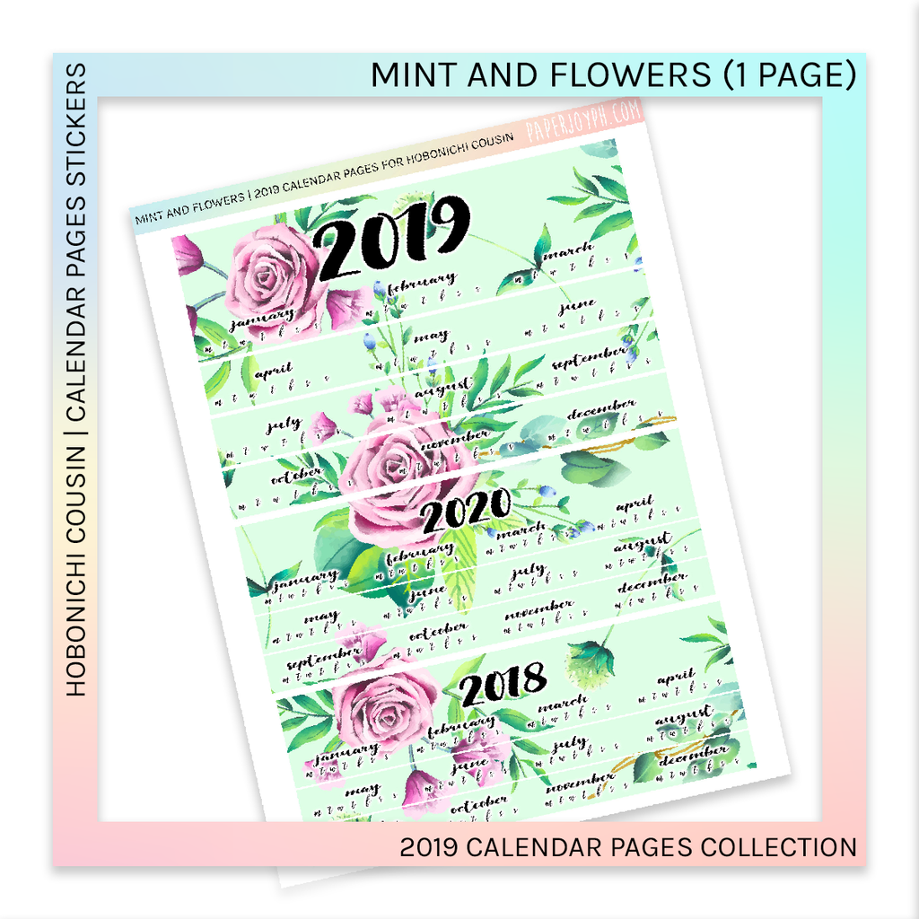 HOBONICHI COUSIN | CALENDAR PAGES | Mint and Flowers