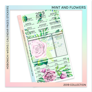 HOBONICHI WEEKS | CALENDAR PAGES | Mint and Flowers 2019