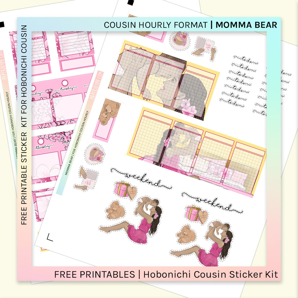 FREE PRINTABLES | HOBONICHI COUSIN HOURLY  | MOMMA BEAR
