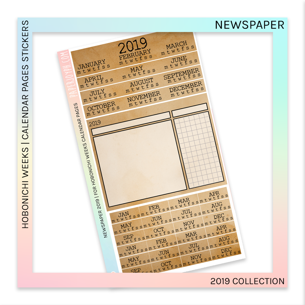 HOBONICHI WEEKS | CALENDAR PAGES | Newspaper 2019