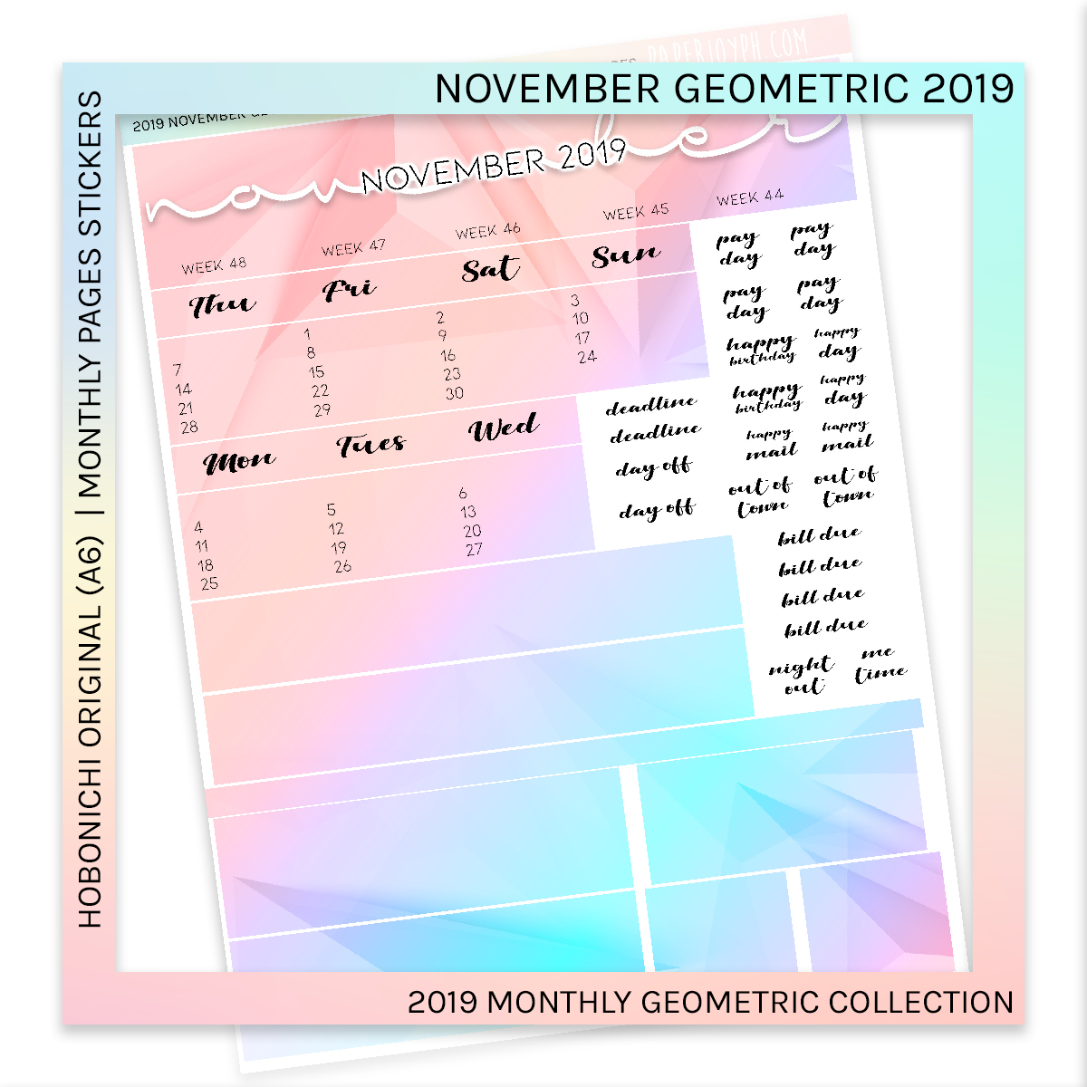 HOBONICHI ORIGINAL (A6) | MONTHLY PAGES | Geometric BUNDLE 2019