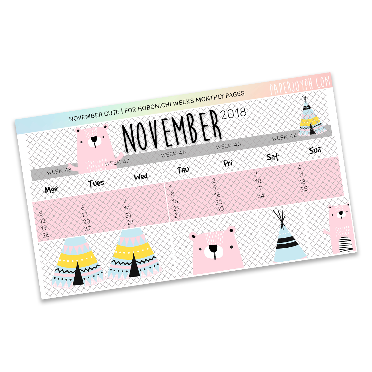 HOBONICHI WEEKS | MONTHLY PAGES | November Cute