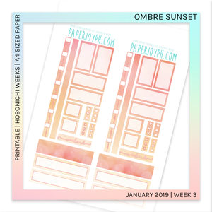 PRINTABLE | HOBONICHI WEEKS | Ombre Sunset A4 size paper