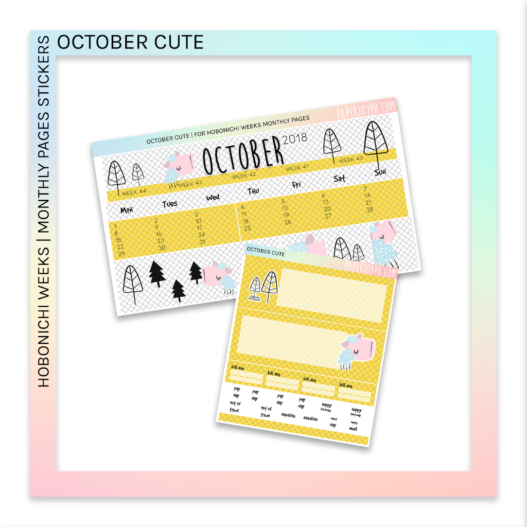 HOBONICHI WEEKS | MONTHLY PAGES | October Cute
