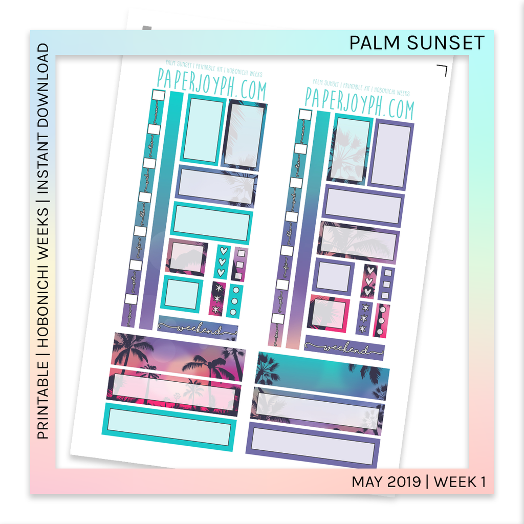 PRINTABLE | HOBONICHI WEEKS | Palm Sunset