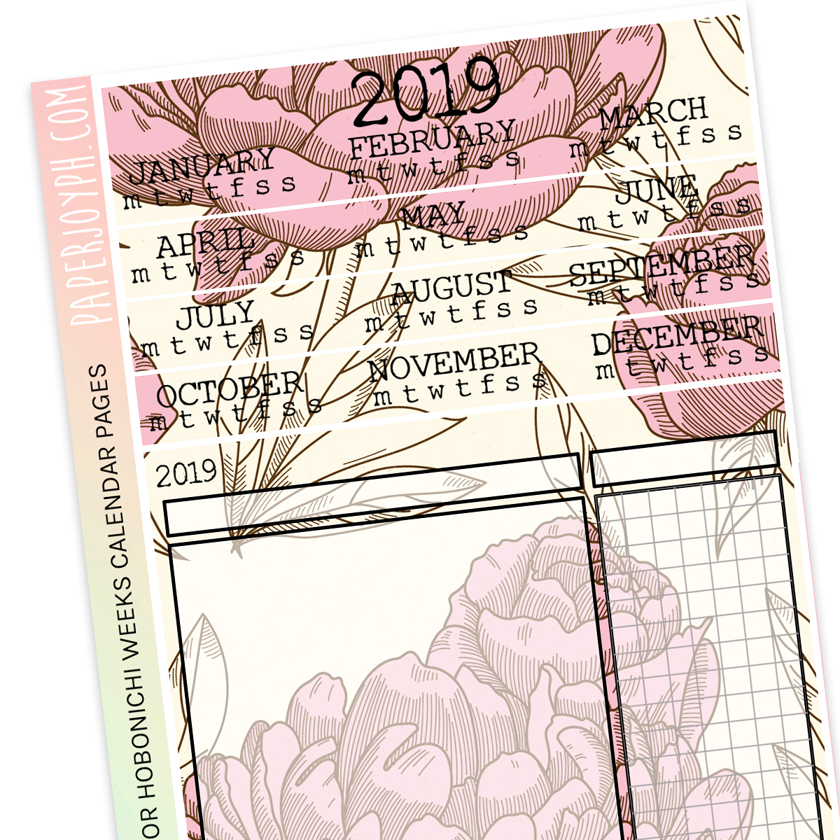 HOBONICHI WEEKS | CALENDAR PAGES | Paper Flowers 2019