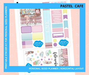 Printable Personal Planner | Horizontal Sticker Kit | PASTEL CAFE