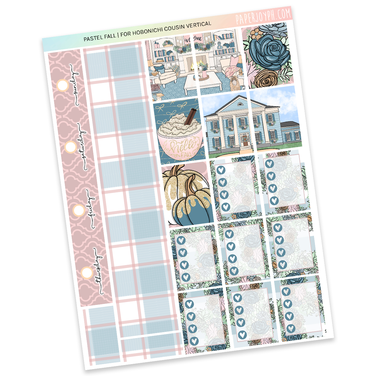HOBONICHI COUSIN | VERTICAL STICKER KIT | Pastel Fall