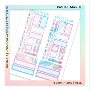 PRINTABLE | HOBONICHI WEEKS | Pastel Marble A4 size paper