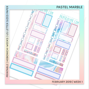 PRINTABLE | HOBONICHI WEEKS | Pastel Marble U.S. LETTER size paper