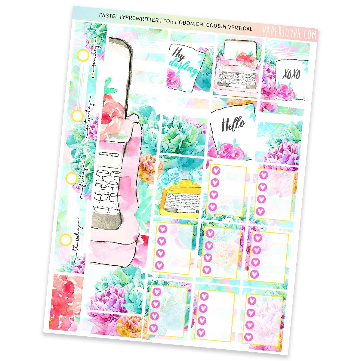 HOBONICHI COUSIN | VERTICAL STICKER KIT | PASTEL TYPEWRITER