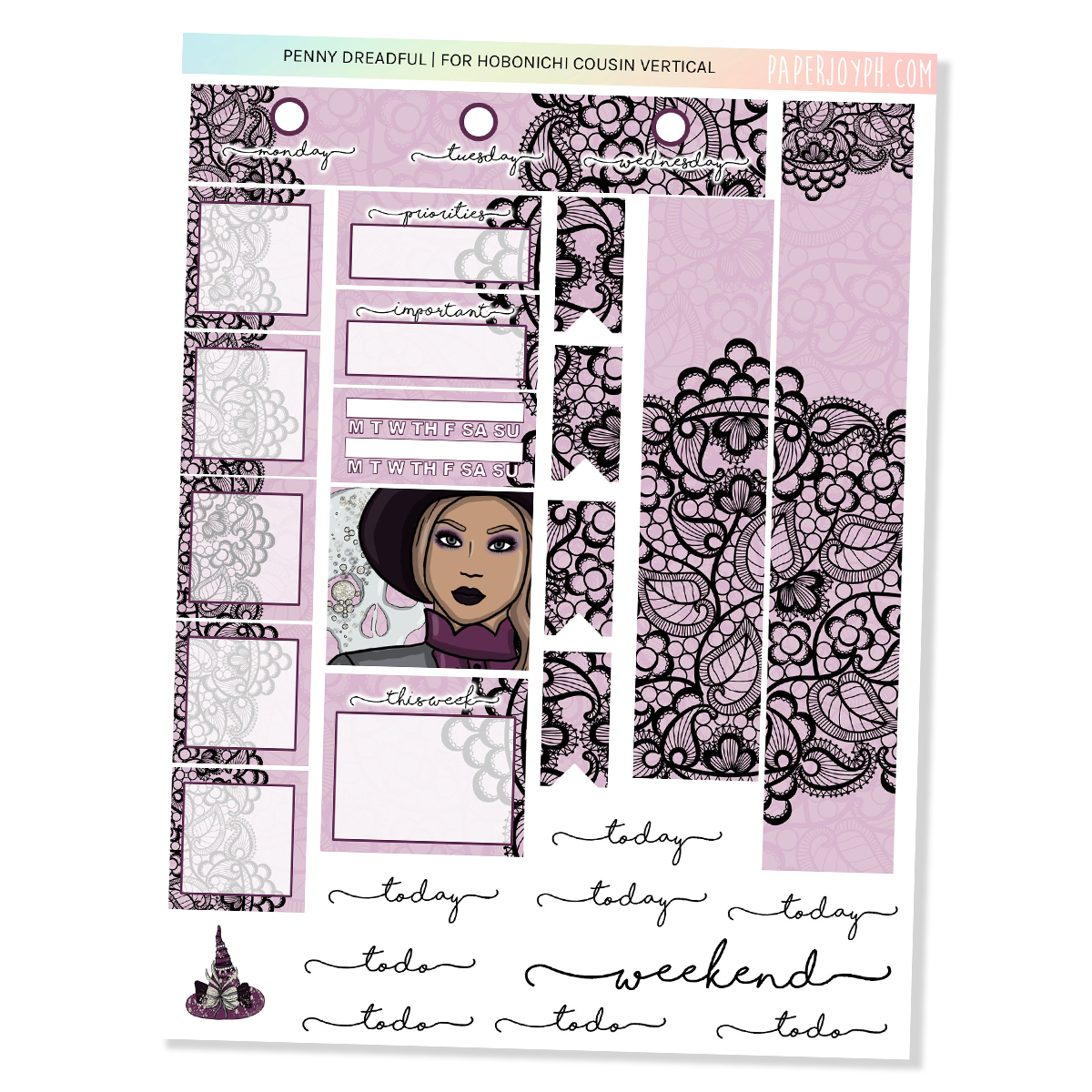 HOBONICHI COUSIN | VERTICAL STICKER KIT | PENNY DREADFUL