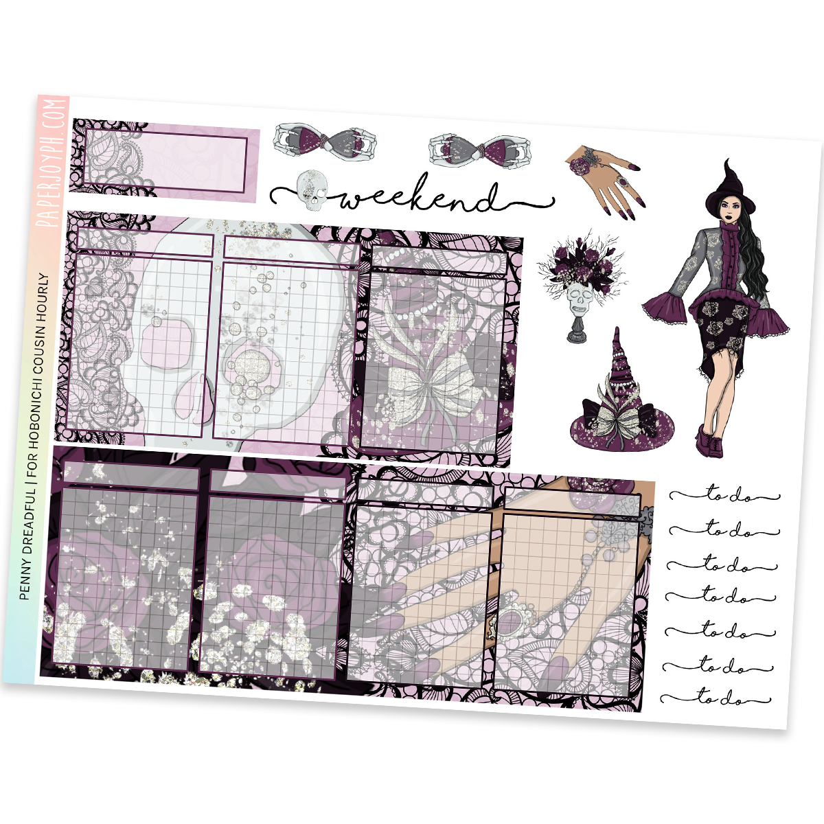 HOBONICHI COUSIN | HOURLY STICKER KIT | Penny Dreadful