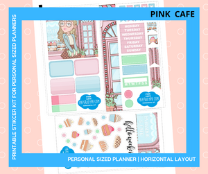 Printable Personal Planner | Horizontal Sticker Kit | PINK CAFE