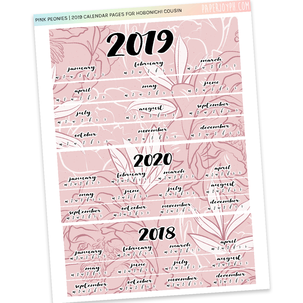 HOBONICHI COUSIN | CALENDAR PAGES | Pink Peonies 2019