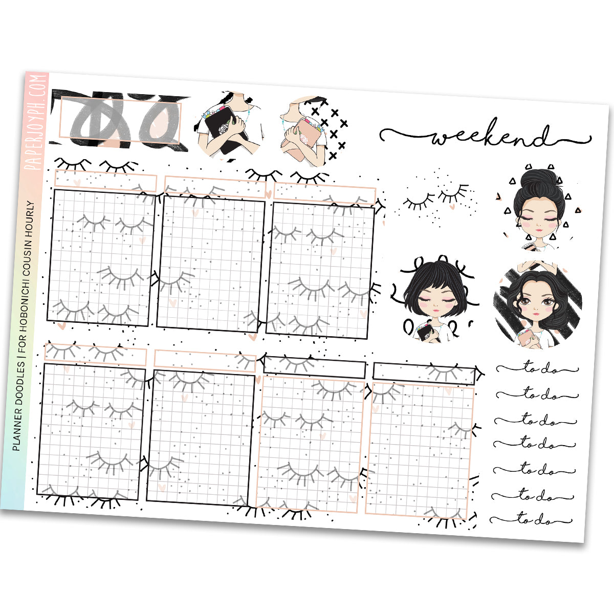 HOBONICHI COUSIN | HOURLY STICKER KIT | Planner Doodles