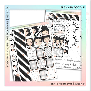 HOBONICHI COUSIN | VERTICAL STICKER KIT | Planner Doodles